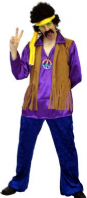 Purple Hippy Man 70's Costume